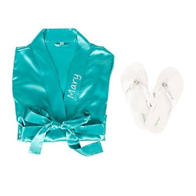 Personalised Satin Robe with Flip Flop Set (L/M, Aqua)