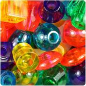 BEADTIN Mixed Transparent 25mm Jumbo Shape Pony Beads