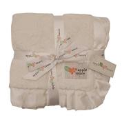 Applesauce Satin Trimmed Baby Blanket, White