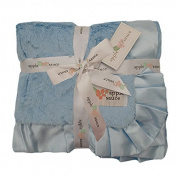 Applesauce Satin Trimmed Baby Blanket, Blue