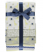 "Cribmates Baby Boys' ""Safari Friends"" 4-Pack Receiving Blankets - navy/multi,"