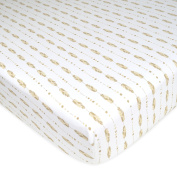 American Baby Company Printed Jersey Knit Fitted Crib Sheet, Taupe Feathers