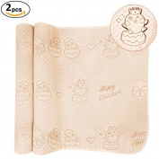 OLizee 2pcs 50cm x 70cm 4 Layers Coloured Cotton Waterproof Changing Pad For Baby Breathable Absorbent Urine Mat Washable Mattress Pad Sheet Protector