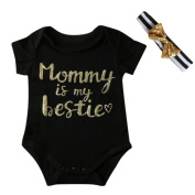 FEITONG Newborn Infant Kids Baby Boy Girl Letter Jumpsuit Romper+ Headband Outfits Clothes Set