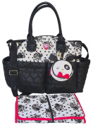 Betsey Johnson 3pc Downtown Multi-Function Nappy Tote Bag with Changing Mat - Black Floral