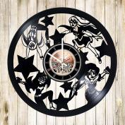 Cartoon Superhero Girls Vinyl Record Wall Clock - Nursery room or Kids Room wall decor - Gift ideas for kids, children, sister, girls - Cute Unique Art Design