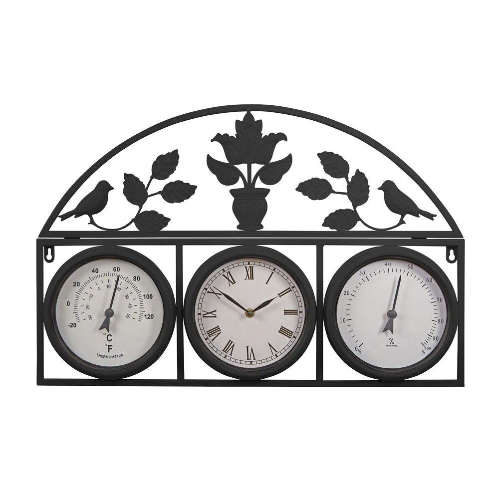 Decorative-Large-Outdoor-Weatherproof-Garden-Wall-and-Fence-Clock-and-Weather