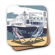 Art247 - Cork Backed Coaster with design of Brighton Pier. By Illustrator Dave Thompson - 100mm x 100mm