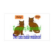 CafePress - Two Cat Alert Rectangle Sticker - Rectangle Bumper Sticker Car Decal