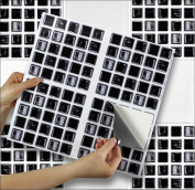 """BLACK MOSAIC sheet of 4 Transfer Tile Stickers for 6"""" x 6"""" (15cm x 15cm) tiles 3M Self Adhesive sheet of four tile sticker transfers for Kitchens & Bathrooms Fully wipeable, steam and heat resistant, non see through material. 35 NEW STYLES available fr .."""