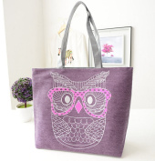 F-Fook Cute Owl Large Canvas Beach Tote Shoulder Bag Womens for Holiday Shopping Reuseable Handbag