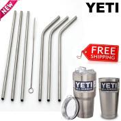 6 Drinking Straws For Yeti Tumbler Cups 20 & 890ml Rambler 2 Reusable Brushes
