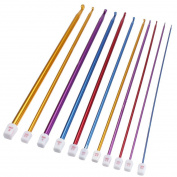 "11pcs 10.6"" Aluminium Tunisian Afghan Crochet Hook Knit Needles Set 2-8mm Lw"