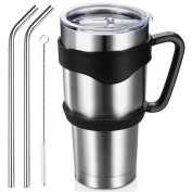 Homitt 890ml Insulated Tumbler Travel Mug, Double Wall Vacuum Stainless Steel Tumbler Bundle with Lid, Handle, 2 Straws, Cleaning Brush,