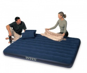 Intex Classic Downy Queen Airbed With 2 Pillows And Double Quick Hand Pump, New