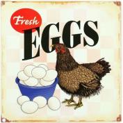 Fresh Eggs Hen Chicken Distressed Retro Vintage Tin Sign, New,  .