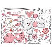 Cartoon Cat Rabbit Flower Wall Sticker Kids Rooms Home Decor Bear Umbrella Dt