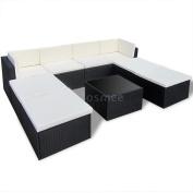 Outdoor Rattan Set Lounge Wicker Sectional Sofa Garden Patio Furniture Black Ls