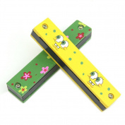 Wooden Painted Harmonica Children Kids Musical Instrument Educational Toy Dt
