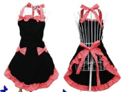 Hyzrz Women's Apron With Pockets, Black And Red, New,  .
