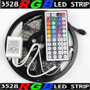 5m Rgb 3528 Smd 300 Led Rope Tape Lights Waterproof Ip65 Dc12v+44 Key Remote