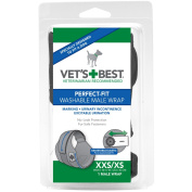 Vet's Best 1 Count Perfect Fit Washable Male Dog Wrap, X-small/xx-sma