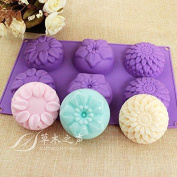 Peicees 6 Cavity Silicone Flower Soap Mould Chrysanthemum Sunflower Mixed New