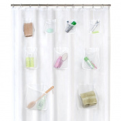 Maytex Mesh Pockets PEVA Shower Curtain Clear, 180cm x 180cm