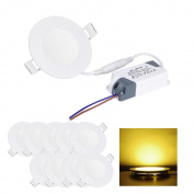 10 Pcs Round 9w Led Recessed Ceiling 15cm Panel Down Lights Warm White Bulbs Lamps