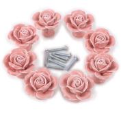 8pcs White/pink Ceramic Vintage Floral Rose Door Knobs Handle Drawer Kitchen +