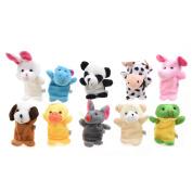 10pcs Funny Kids Adults Velvet Animal Style Finger Puppets Set Learning Toy Ed
