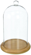 Glass Cloche Bell Jar Display Dome With Bamboo Base - 18cm X 10cm