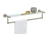 Organise It All Satin Nickel Glass Shelf With Towel Bar
