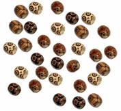 Rockin Beads 90 Wood Large Hole Macrame Beads 16mm Mixed Colours Painted New