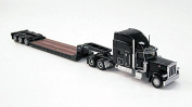 1/87 Black Peterbilt 389 With Trail King Lowboy Trailer By Norscot