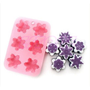 Cake Mould 6-snowflake Snow Soap Flexible Silicone Mould For Candy Chocolate