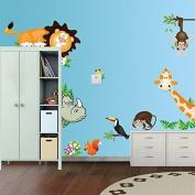 Elecmotive Jungle Wild Animal Vinyl Wall Sticker Decals For Kids Baby Bedroom (l