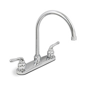 2 Handle High Spout Kitchen Faucet W/ot Spray Chrome Plated Washerless Lead-free