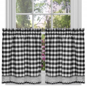 Achim Home Furnishings Buffalo Cheque Kitchen Curtain Tier Black/white 58 ... New