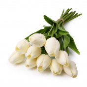 Tulip White 10 Pcs SOLEDI PU Real-touch Artificial Flowers for Bridal Bouquet Wedding Living Room Table Home Garden Decoration
