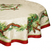 Benson Mills Christmas Ribbons Engineered Printed Fabric Tablecloth 180cm ... New