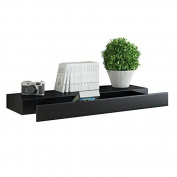 Black Floating Wall W/ Drawer Concealed Mounting Bracket & Hardware Included