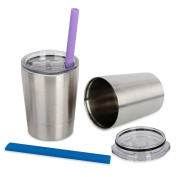 Housavvy Stainless Steel Cups With Lids And Straws 250ml Set Of 2