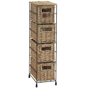VonHaus Storage Tower Unit | Set of Seagrass Storage Baskets with Insert Handles