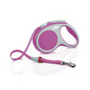 Flexi Vario Med Retractable Cord Dog Leash 4.9m Up To 25kg Pink/grey