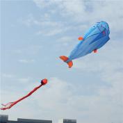 Huge Parafoil Giant Dolphin 3d Kite Frameless Soft Blue 30m Line Easy To Fly
