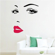Awakink(tm) Women's Face Star Decor Face Red Lips Nice Sticker Removable Wall St