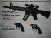 (3) Guns Military Soldier Black M-16 Toy Rifle With Sound/ Light + 2 Cap Guns