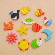 12pcs Fun Baby Kid Wooden Magnet Educational Toy Kitchen Fridge Cartoon Ft
