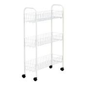Household Essentials Slim Line 3-tier Metal Storage Cart White New